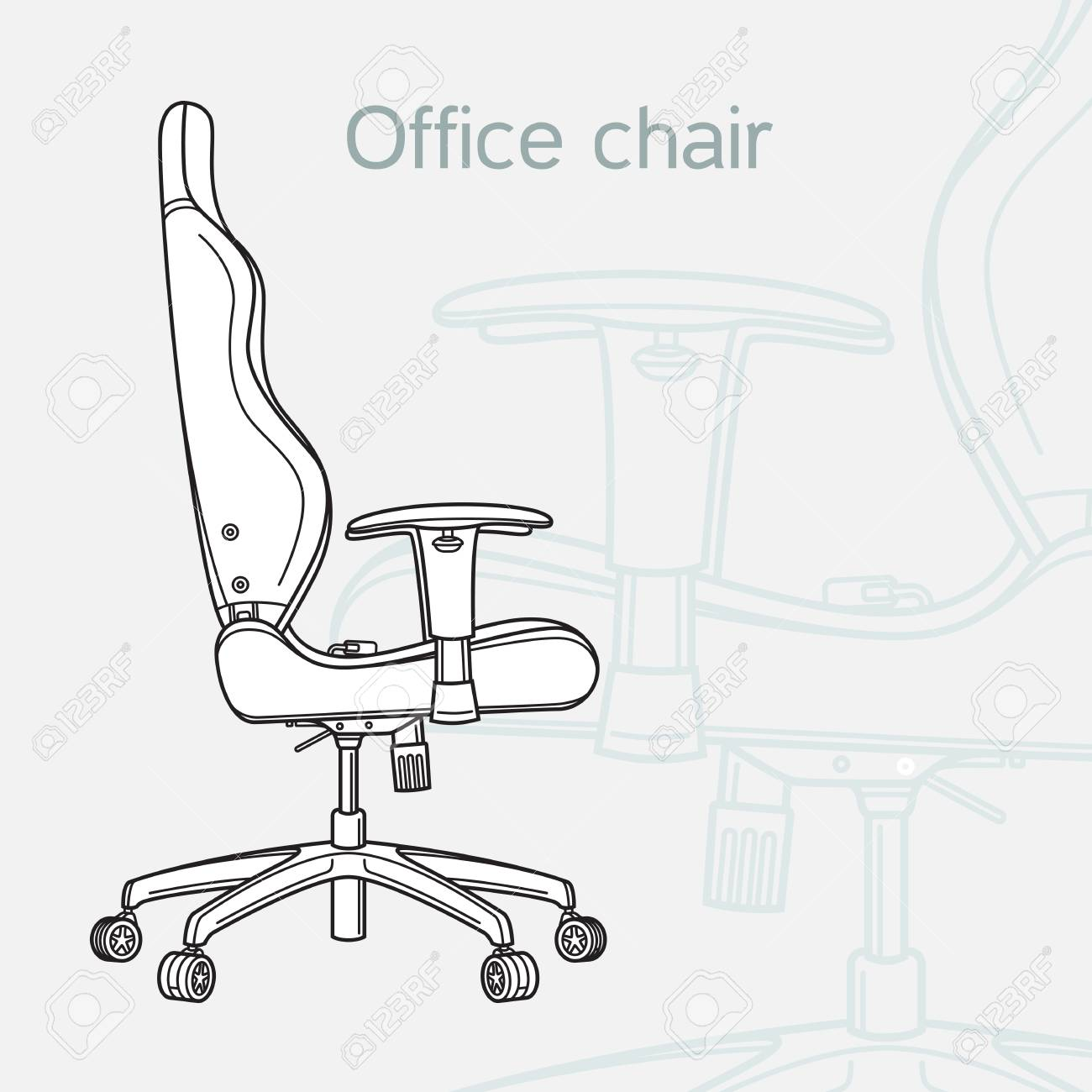 office chair drawing. Unique Chair Office Chair Drawn In A Schematic Style Line Art Stock Vector  99862708 To Chair Drawing