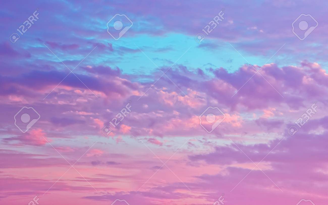 amazing sky background pink and serene fluffy cumulus clouds in