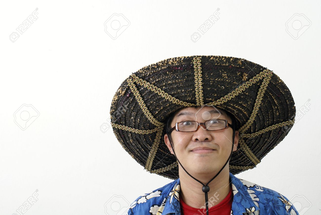 Asian Man With Mexican Hat Stock Photo 813cda54447