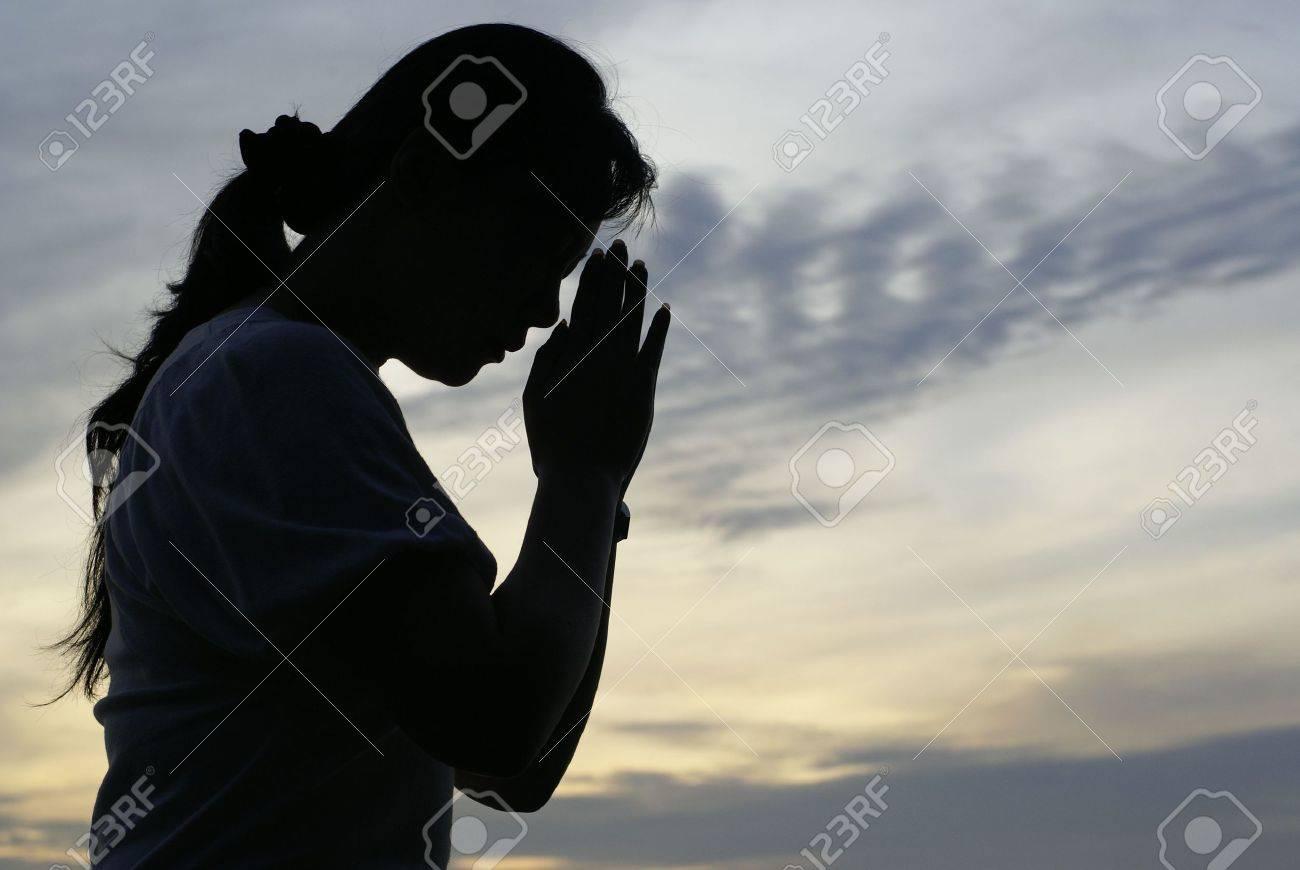 Woman Praying Silhouette Cross Woman Praying Silhouette