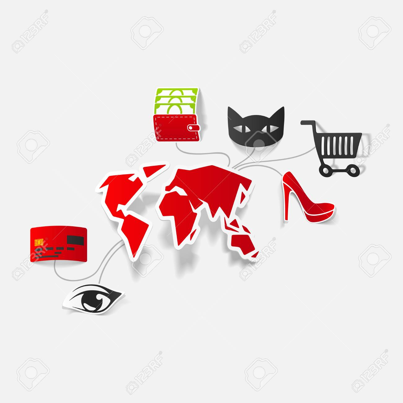 Set of sticker design online shopping concept stock vector 29819462