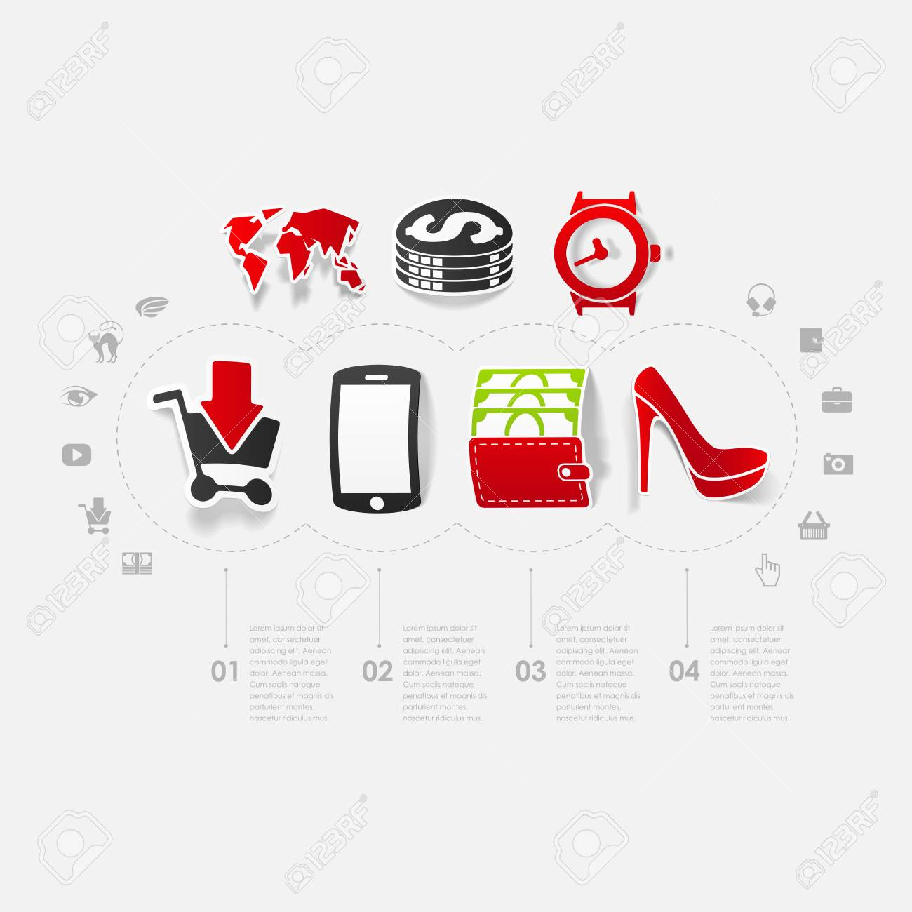 Set of sticker design online shopping concept stock vector 30157948