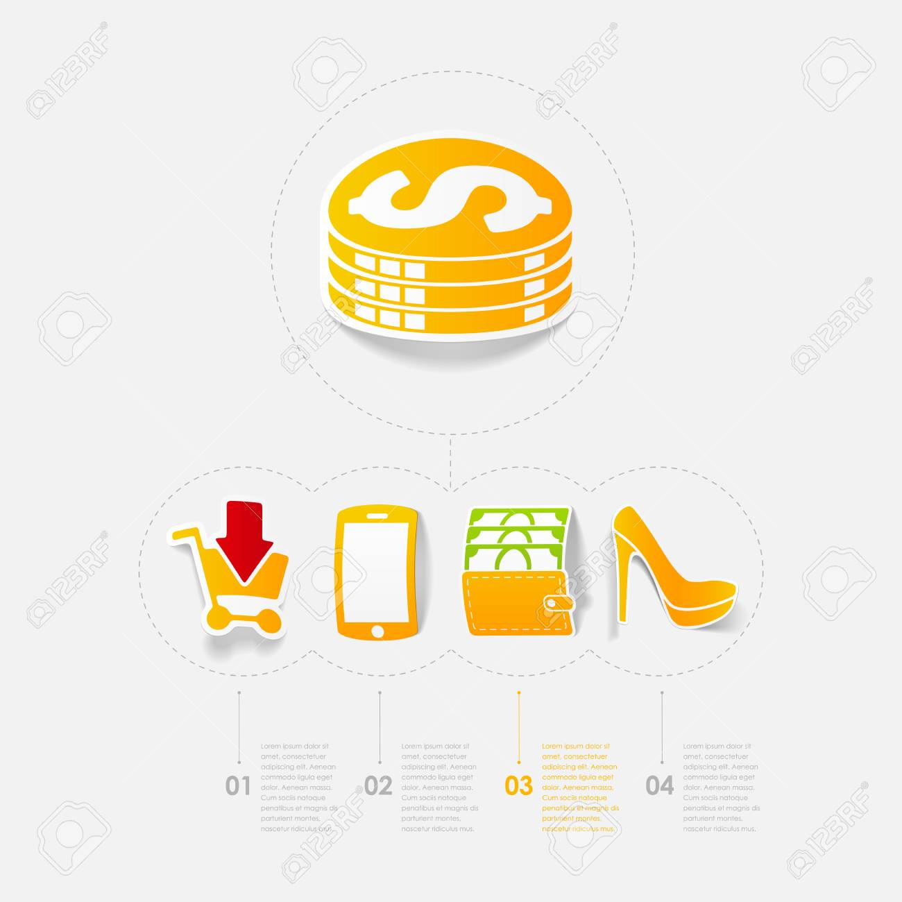 Set of sticker design online shopping concept stock vector 30283943
