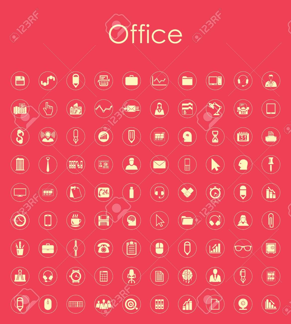 Set Von Büro Einfache Symbole Lizenzfrei Nutzbare Vektorgrafiken ...