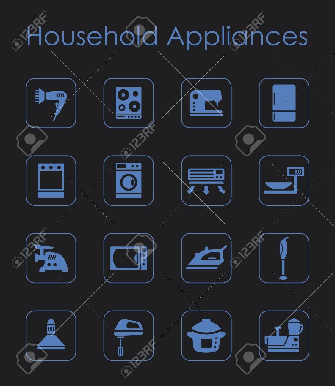 Es Ist Eine Reihe Von Haushaltsgeräten Einfache Web-Symbole ...