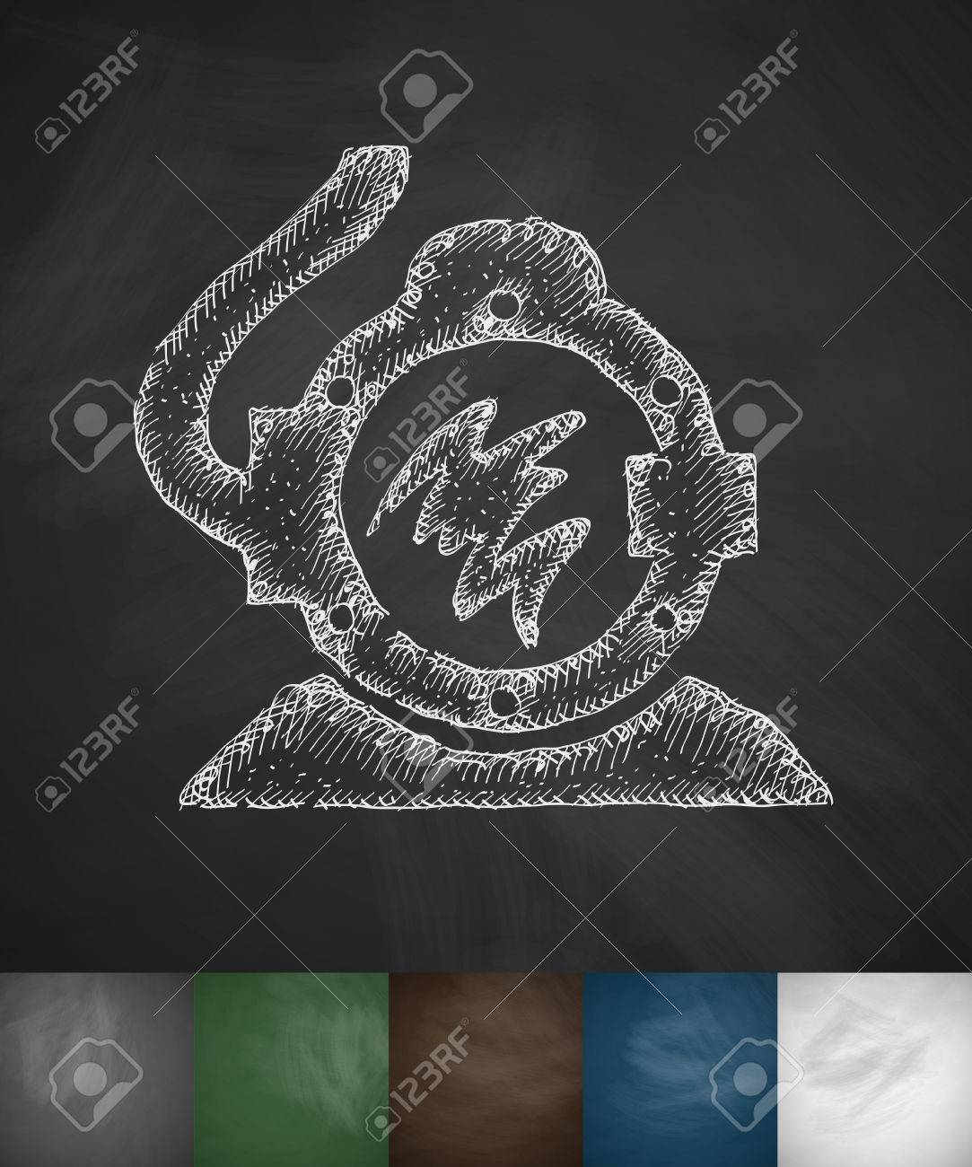 diving suit icon hand drawn vector illustration chalkboard