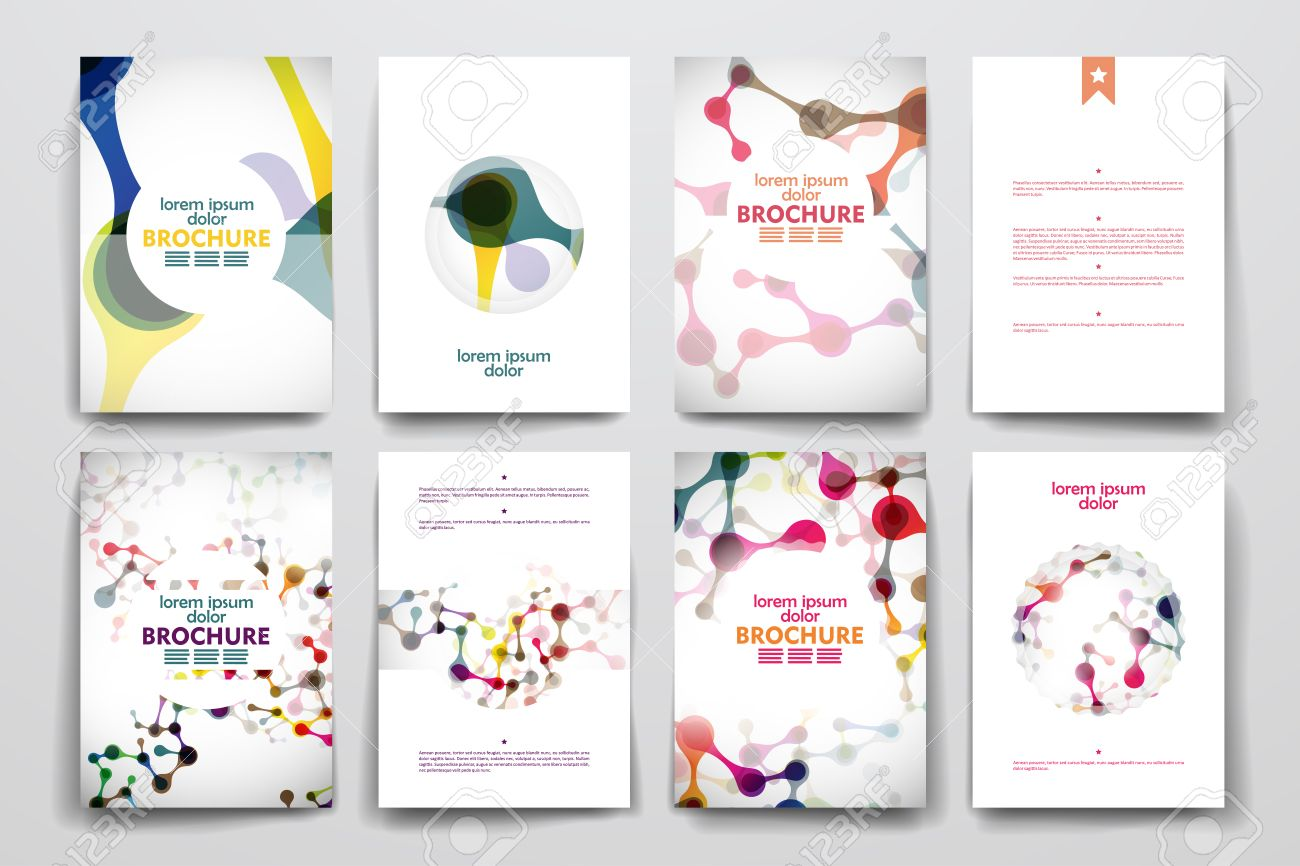 Set Of Brochure, Poster Templates In DNA Molecule Style. Beautiful ...