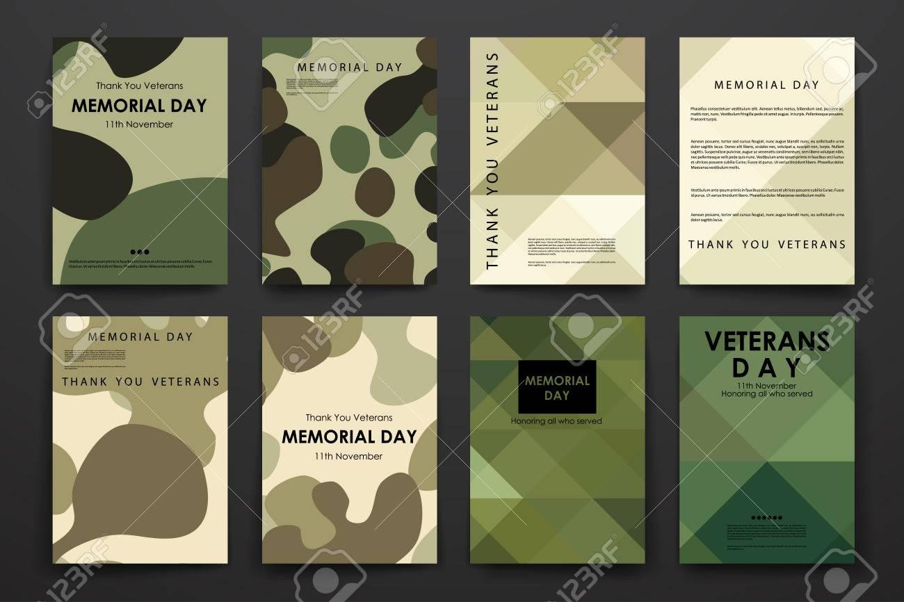 Set Broschüre, Plakat-Vorlagen In Veteranentag Stil Design Und ...