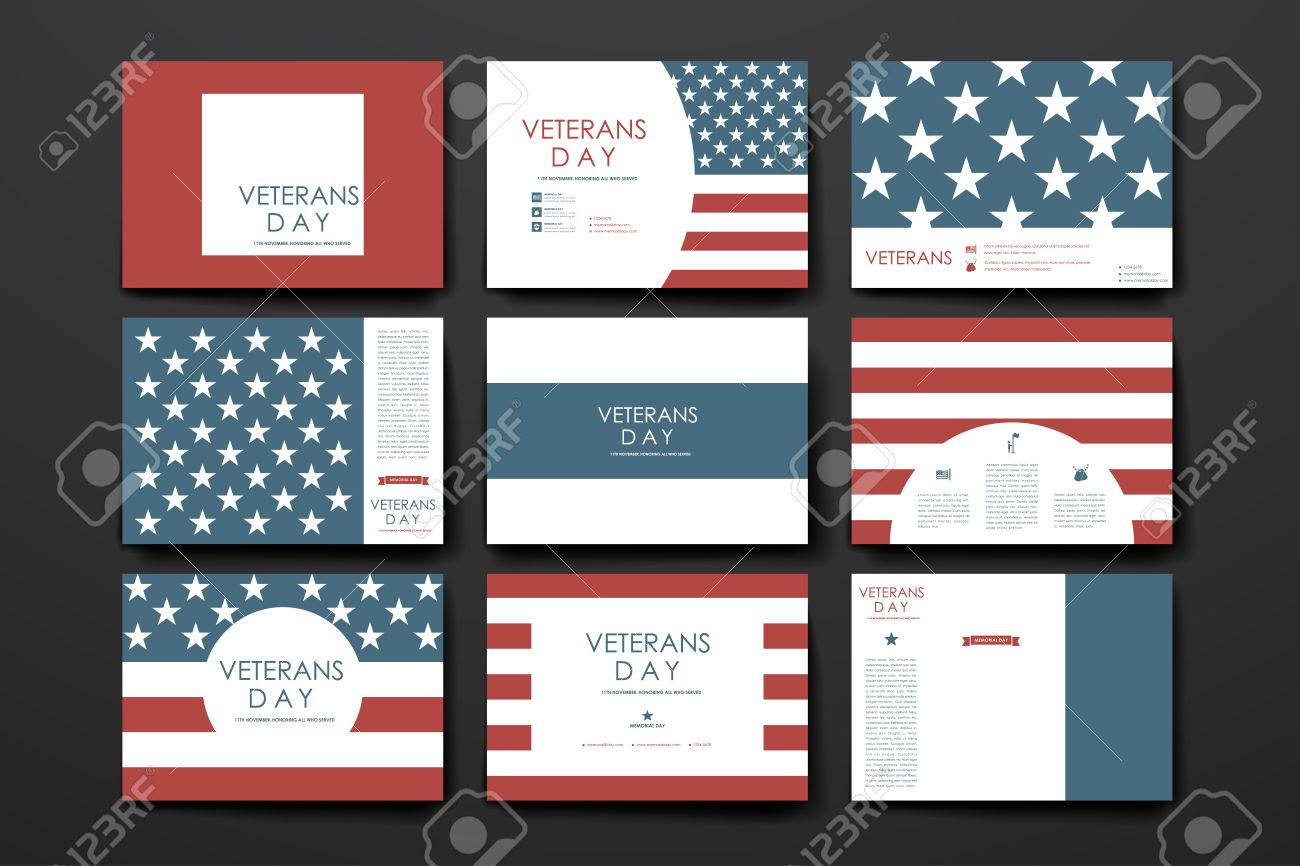 set of brochure poster templates in veterans day style design