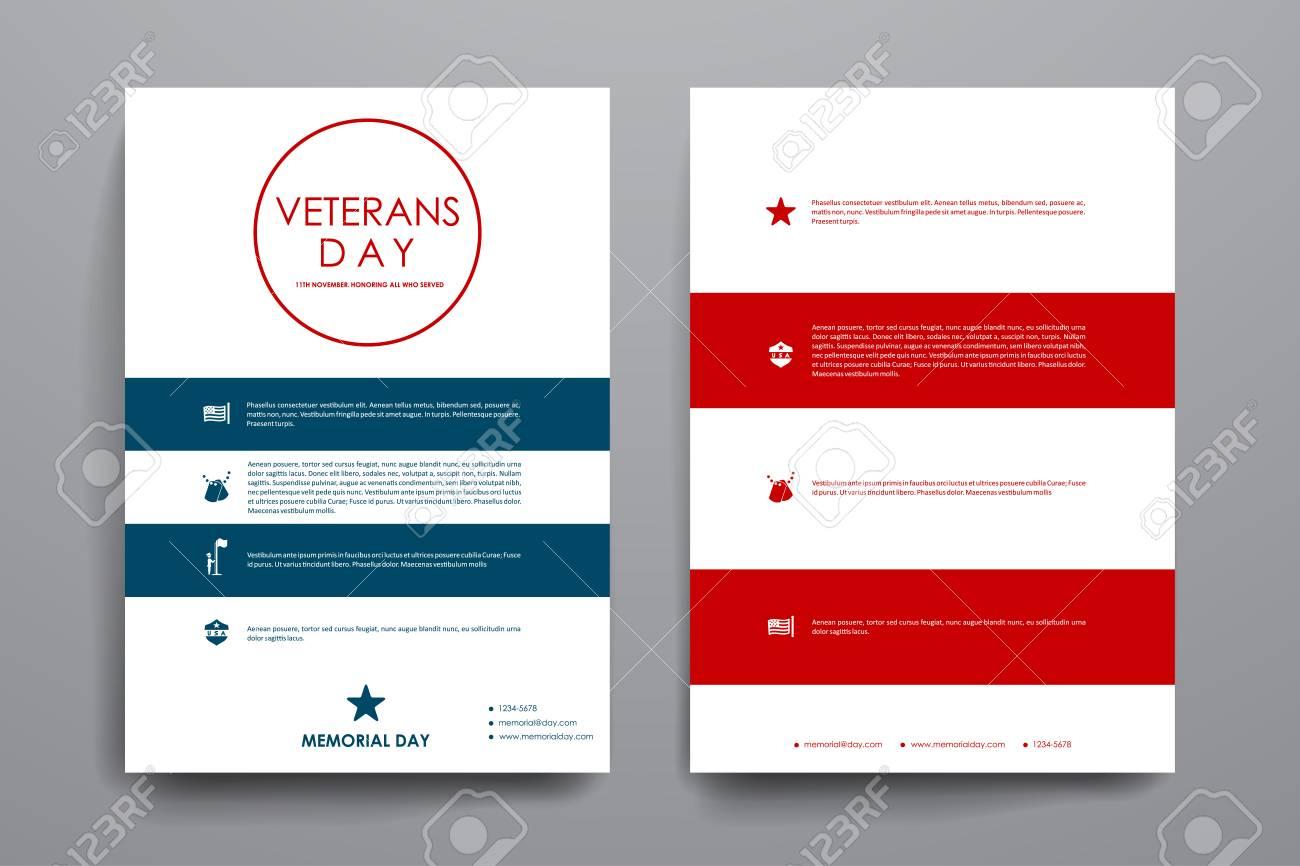 Set Broschüre, Plakat-Vorlagen In Veteranentag Stil. Schönes Design ...