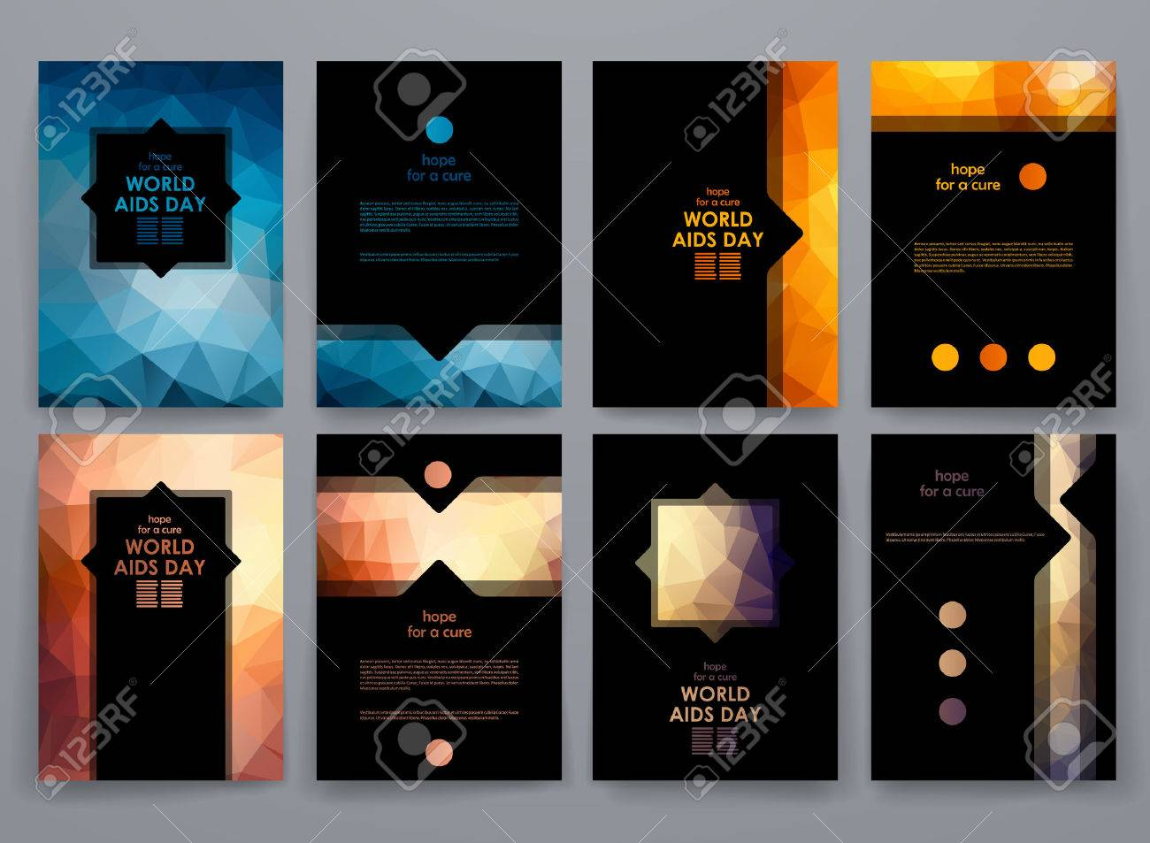 Set of brochure, poster templates in World AIDS Day style. Beautiful design and layout - 48325759