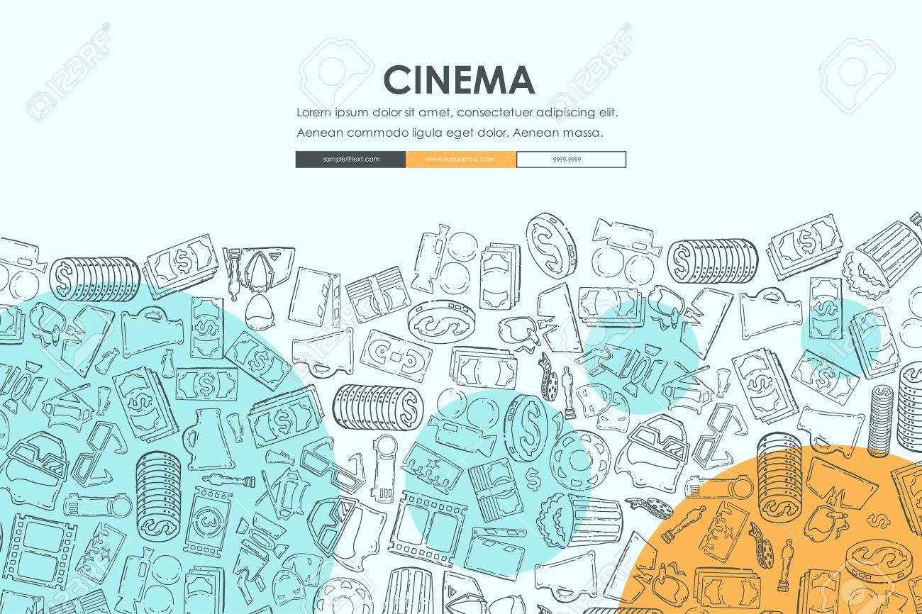 Cinema Website Template Design With Doodle Background Royalty Free ...