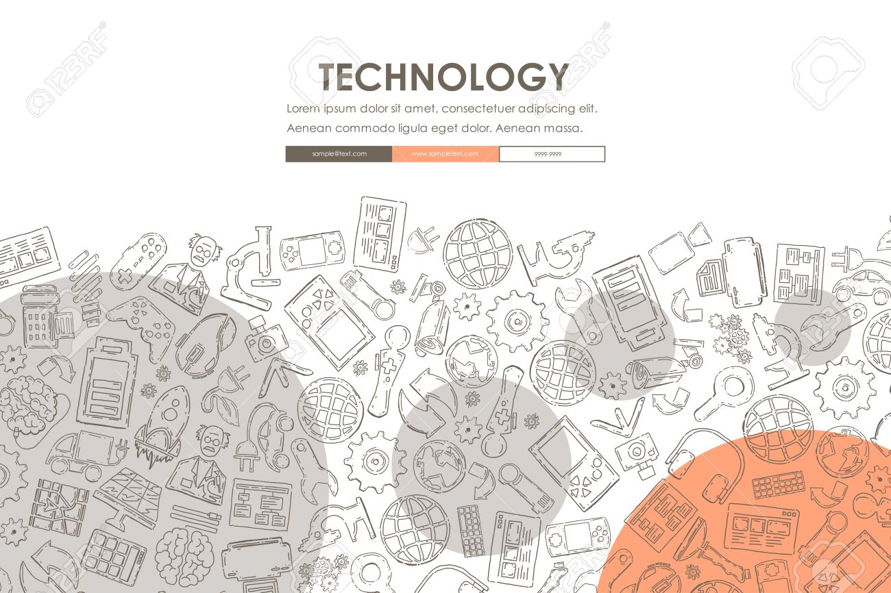 technology website template design with doodle background royalty