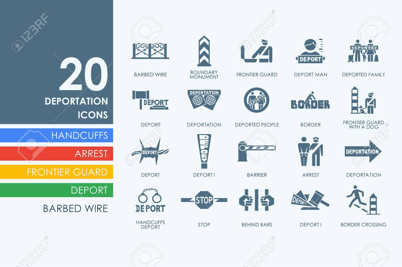 771 illegal immigration stock vector illustration and royalty illegal immigration deportation vector set of modern simple icons