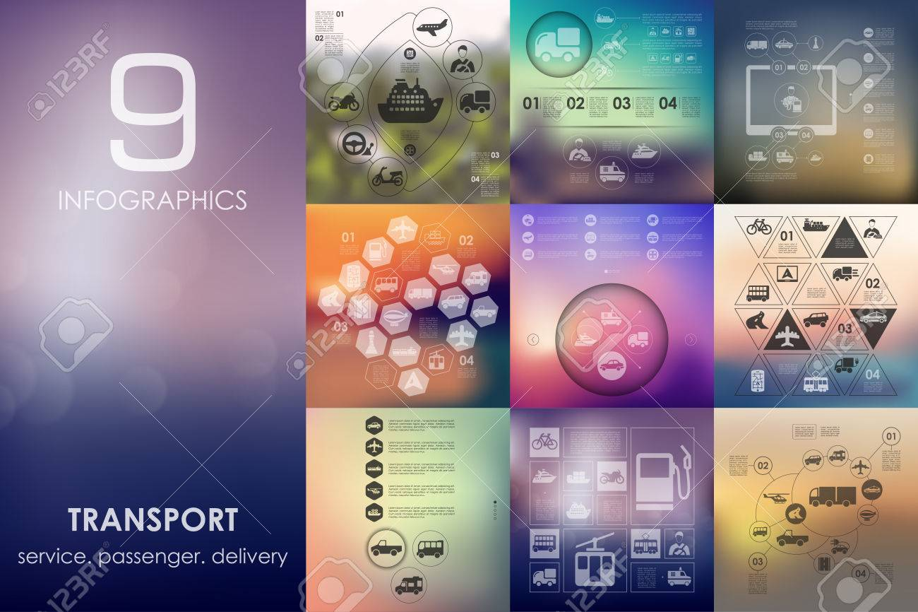 transport vector infographics with unfocused blurred background - 50282790