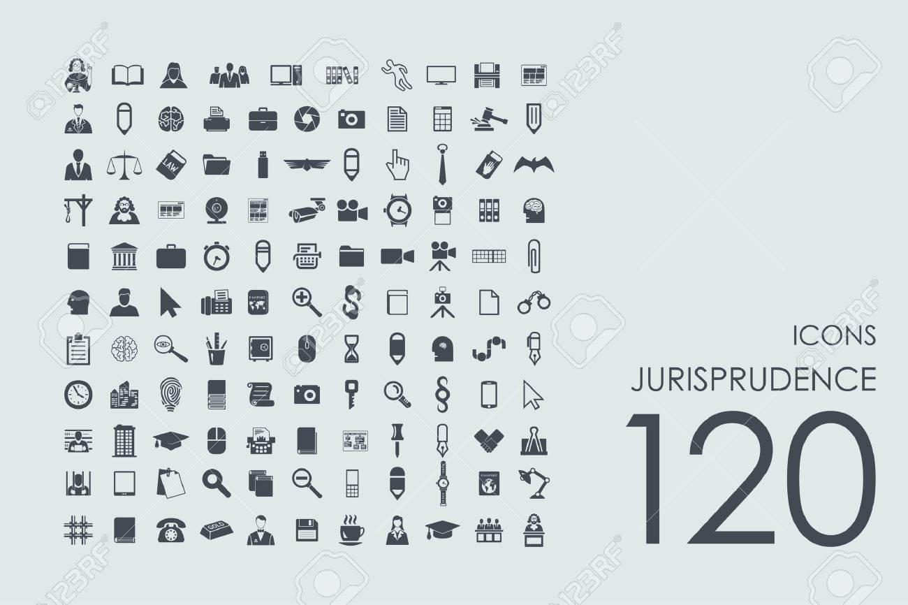 jurisprudence vector set of modern simple icons - 50820132