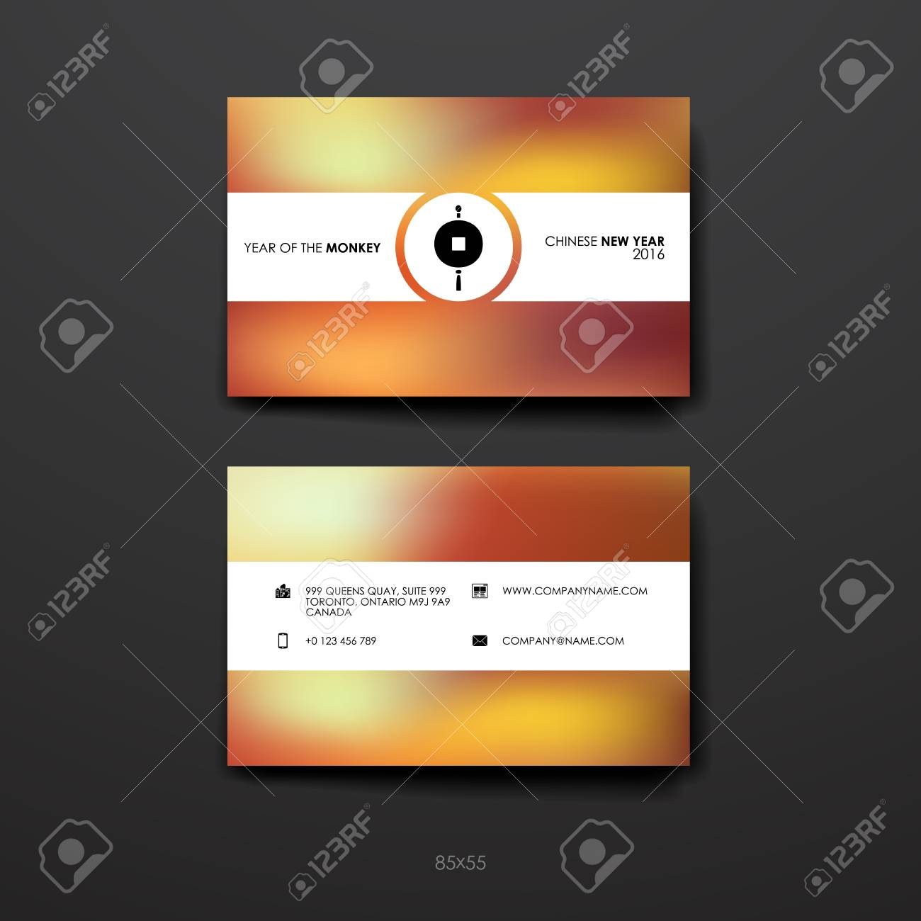 Set Of Business Card Template In Chinese New Year Style. Beautiful ...