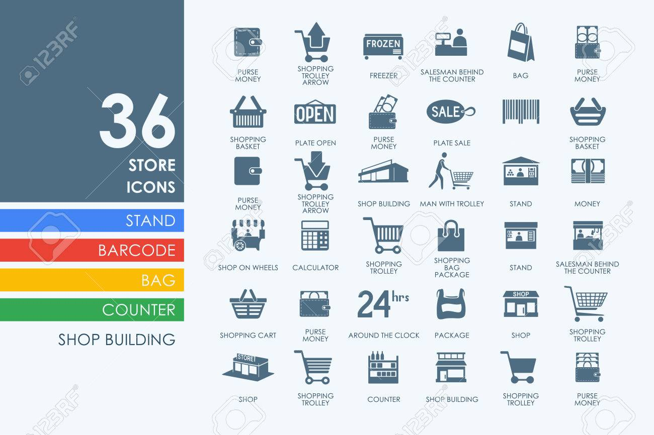 store vector set of modern simple icons - 53356106