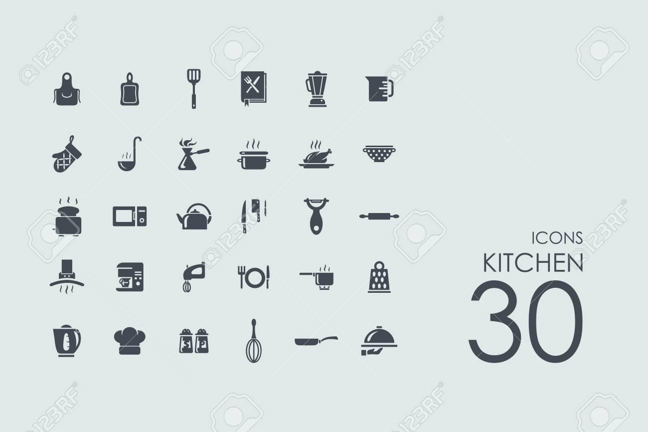 Küche Vektor Reihe Von Modernen Einfache Symbole Lizenzfrei Nutzbare ...