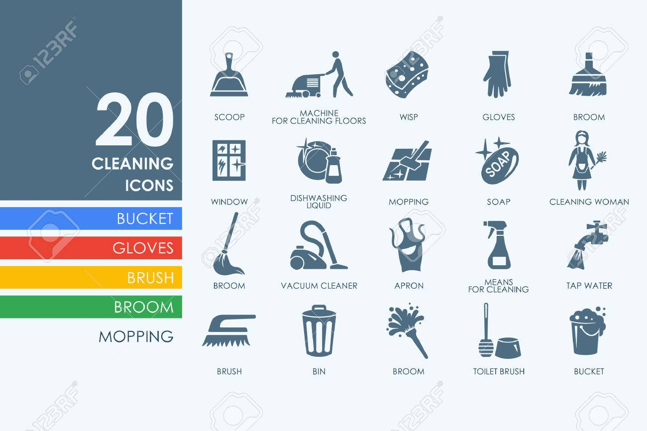 cleaning vector set of modern simple icons - 55137429