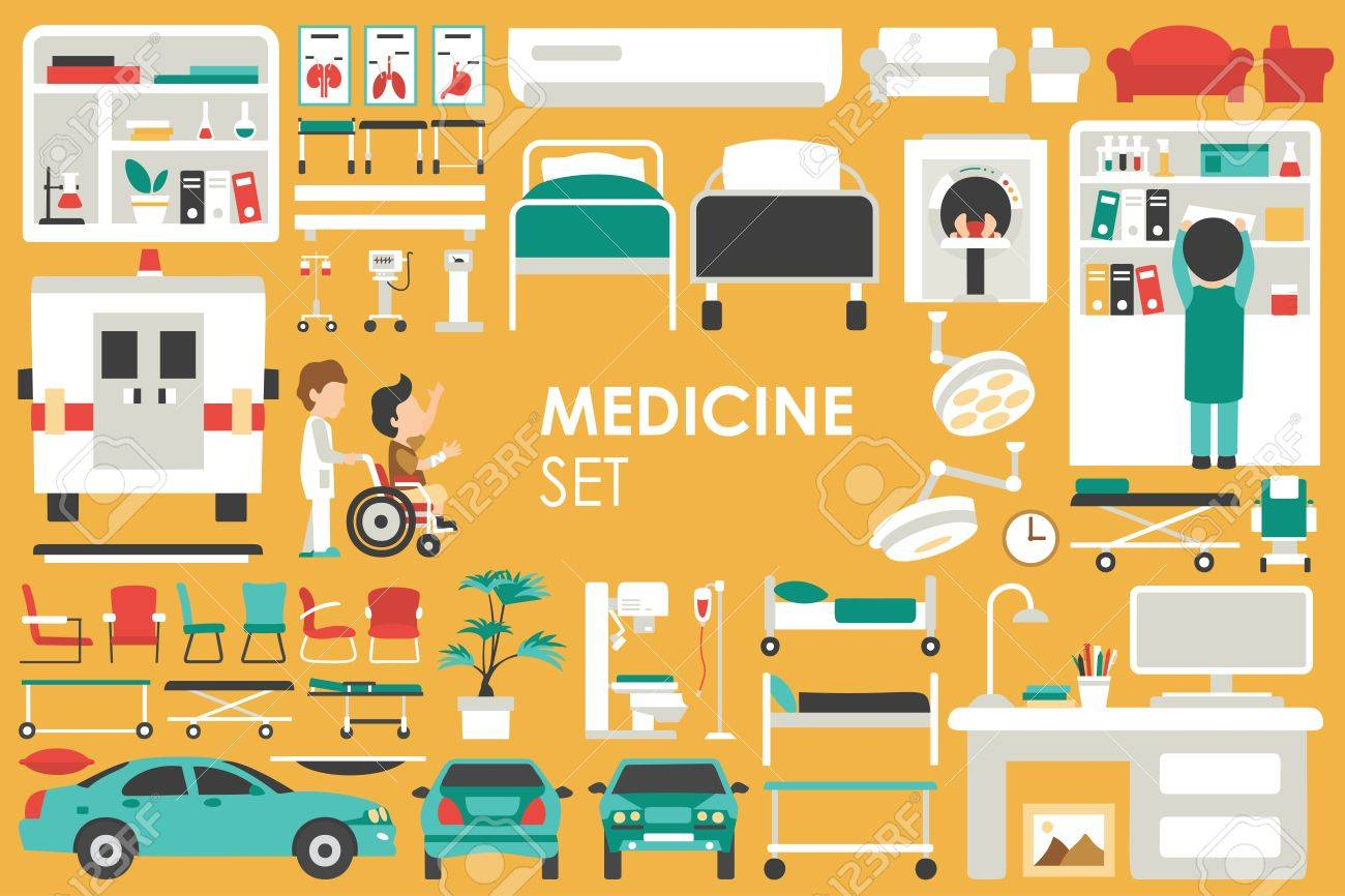 Medical Big Collection in flat design background concept. Infographic elements set with hospital staff doctor and nurse around medicine tools equipment. Icons for your product or illustration - 55911010