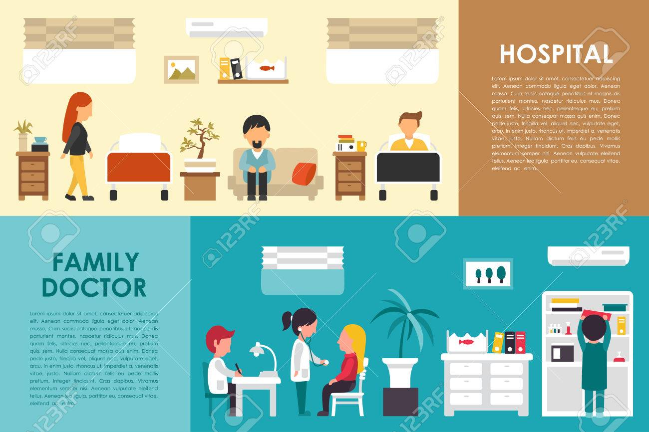 Hospital and Family Doctor flat hospital interior concept web