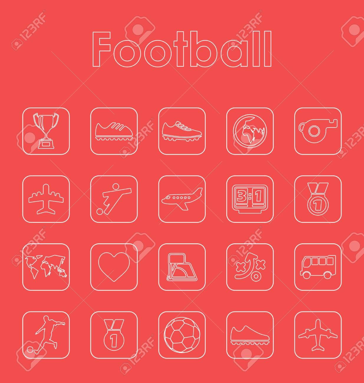 Set Von Fußball Einfache Symbole Lizenzfrei Nutzbare Vektorgrafiken ...