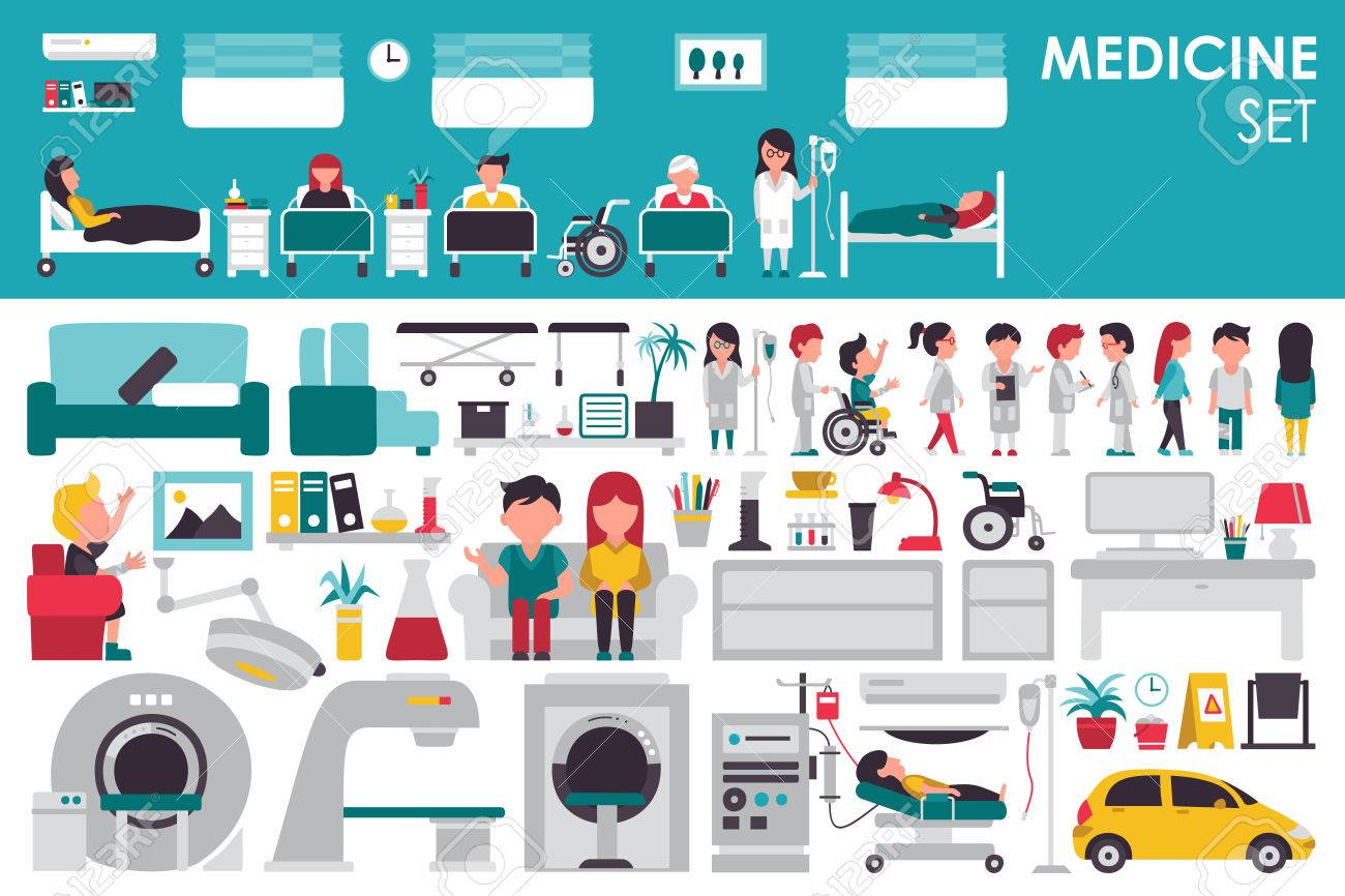 Medical Big Collection in flat design background concept. Infographic elements set with hospital staff doctor and nurse around medicine tools equipment. Icons for your product or illustration - 57645761