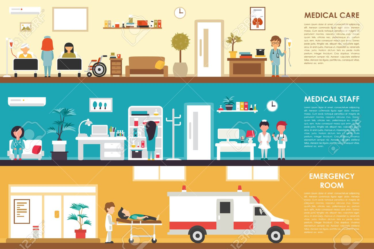 Medical Care And Staff Emergency Room Flat Hospital Interior Concept Web Vector Illustration Doctor