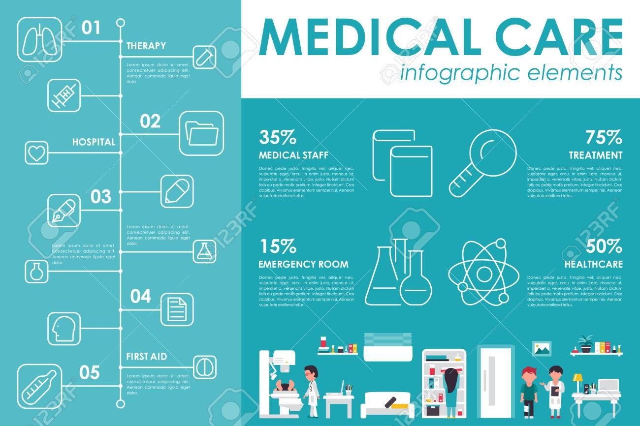 medical care concept hospital flat web vector illustration patient