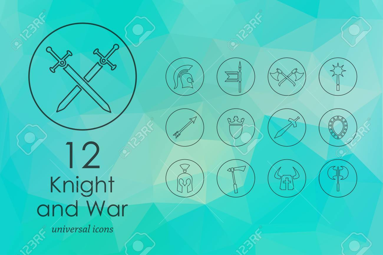 Knight And War Modern Icons For Mobile Interface On Blurred ...