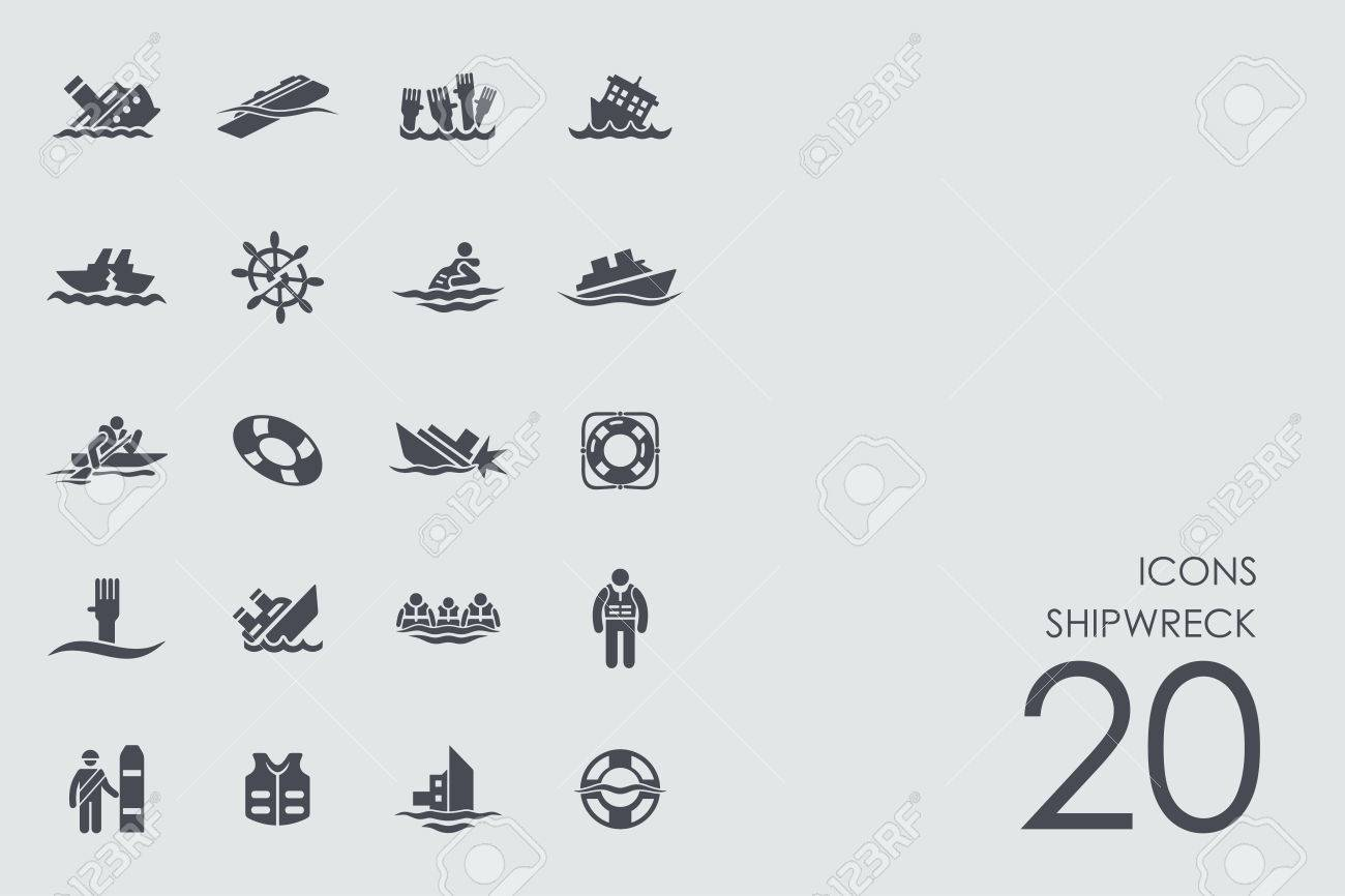 shipwreck vector set of modern simple icons - 65474275