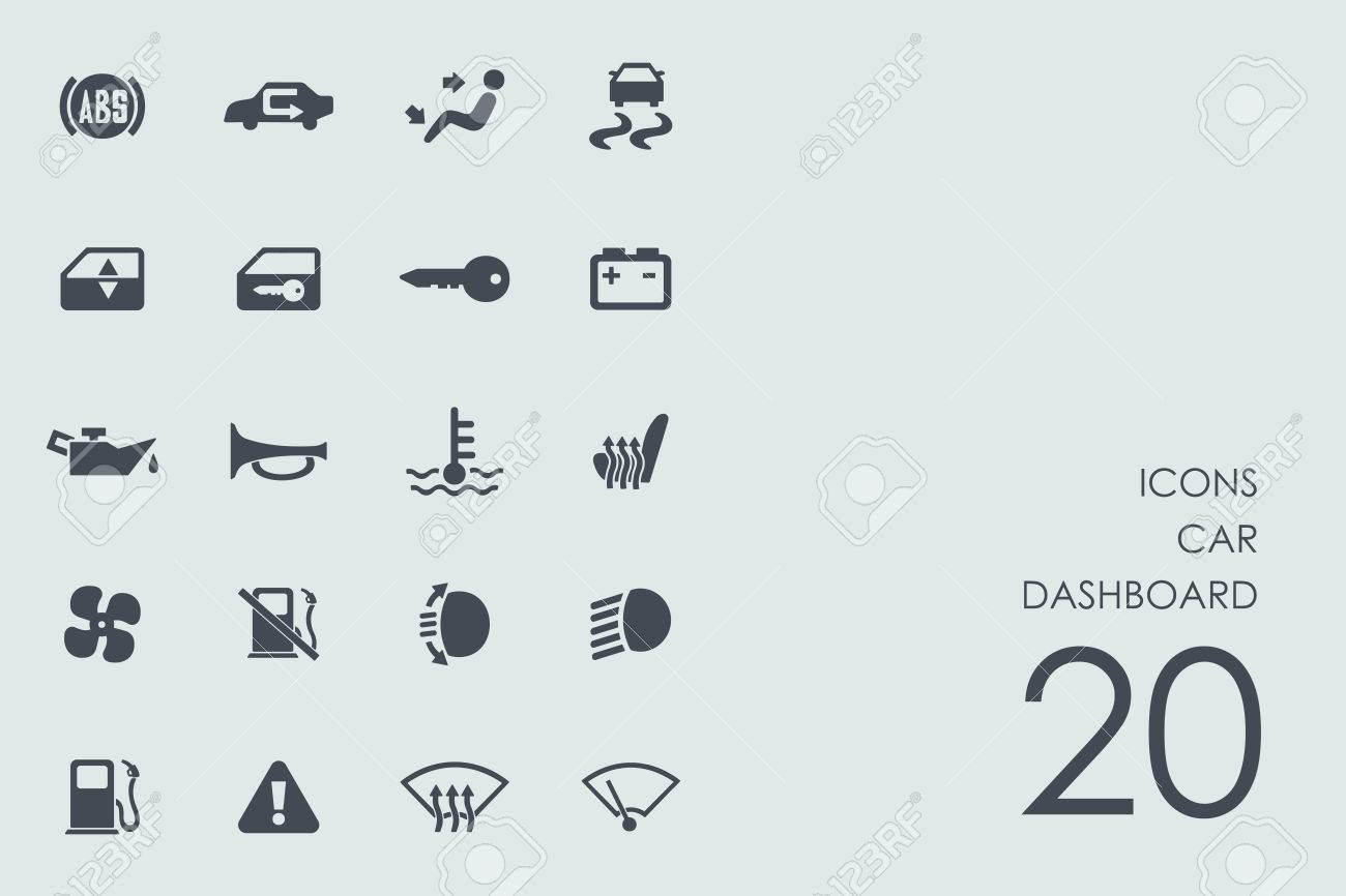 Car Dashboard Vector Set Of Modern Simple Icons Royalty Free - Car image sign of dashboardcar dashboard icons stock images royaltyfree imagesvectors