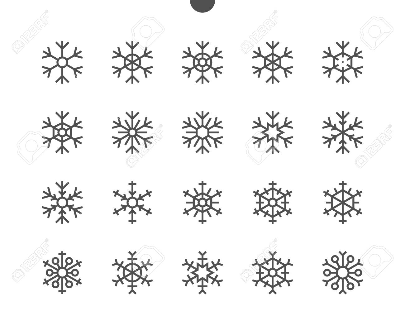 Snowflakes UI Pixel Perfect Well-crafted Vector Thin Line Icons 48x48 Ready for 24x24 Grid for Web Graphics and Apps with Editable Stroke. Simple Minimal Pictogram - 91115668