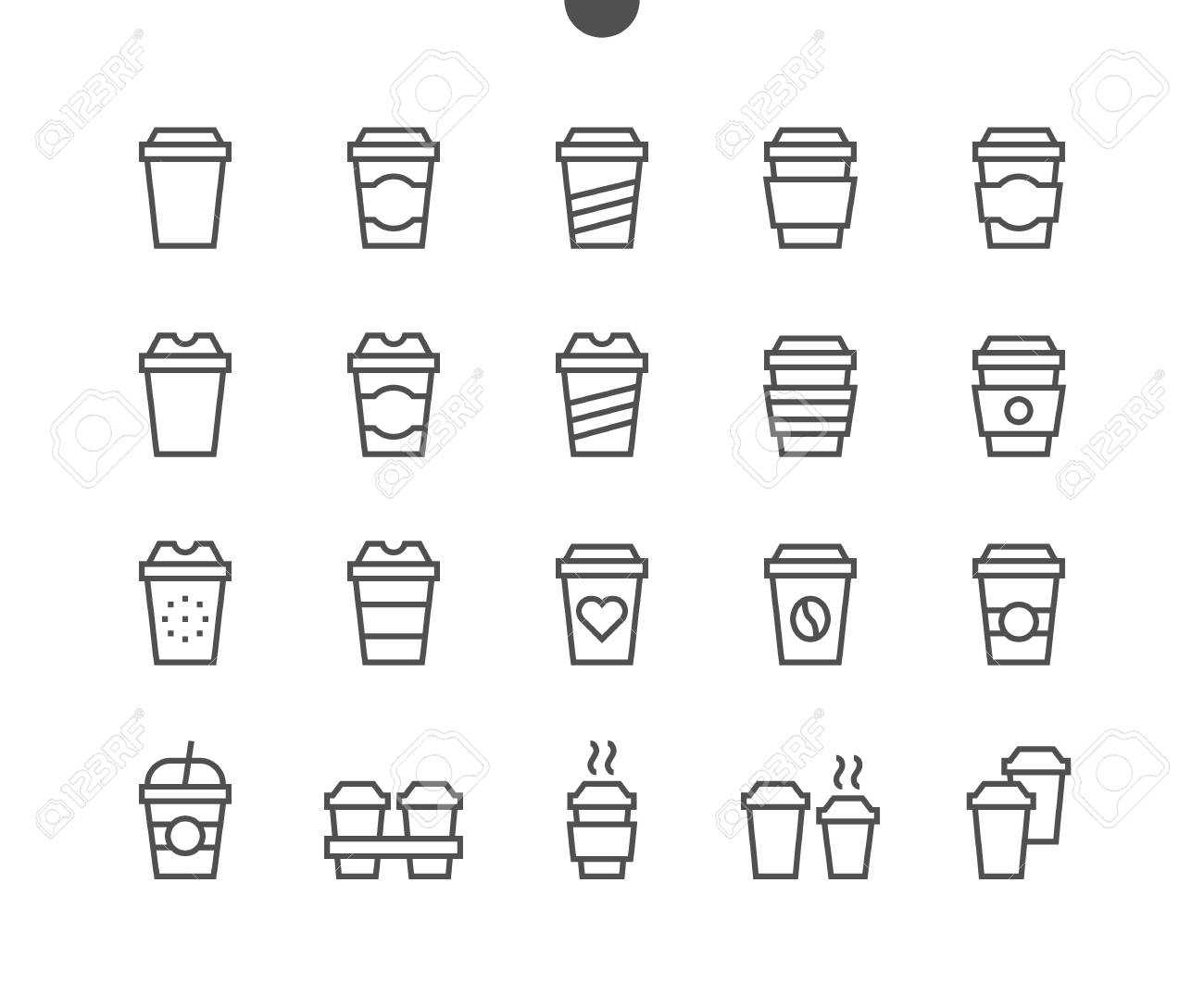 Coffee To Go Food UI Pixel Perfect Well-crafted Vector Thin Line Icons 48x48 Ready for 24x24 Grid for Web Graphics and Apps with Editable Stroke. Simple Minimal Pictogram Part 1-1 - 96207189