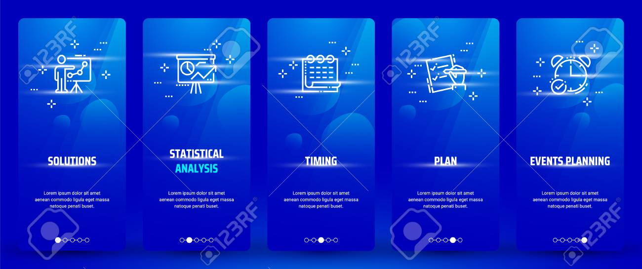 Solutions, Statistical analysis, Plan, Events planning, Timing Vertical Cards with strong metaphors. - 98420435