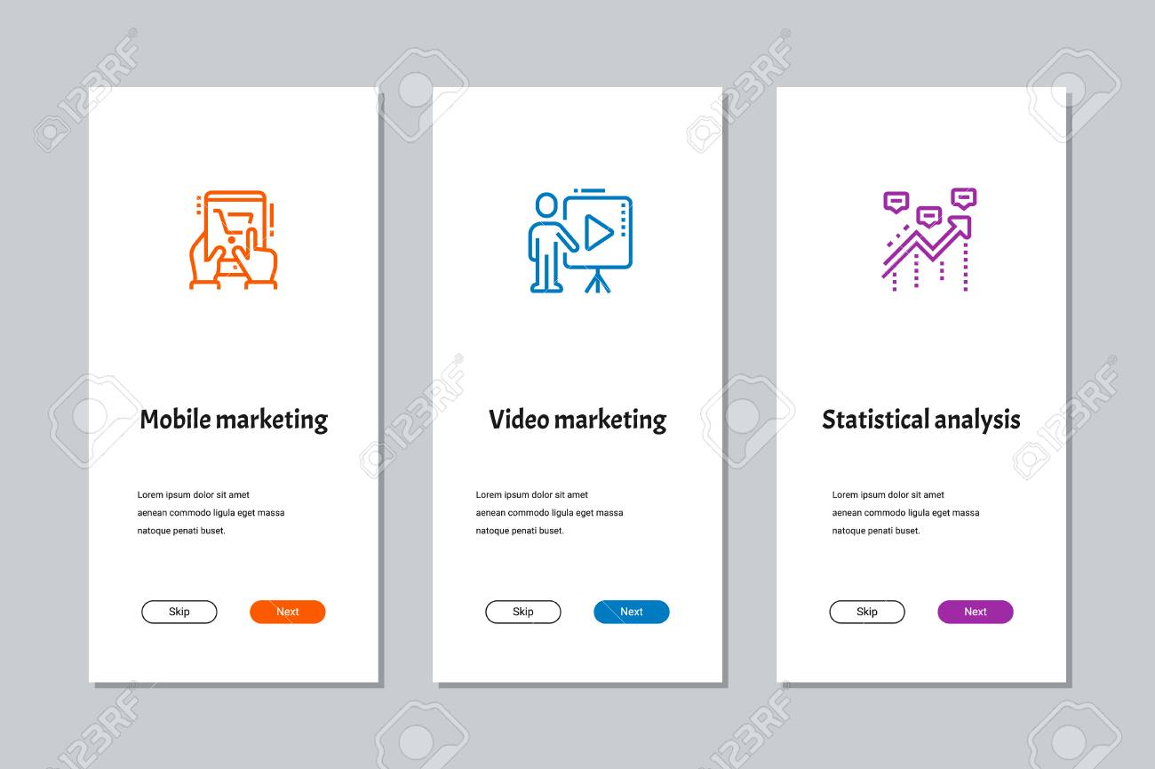 Mobile marketing, Video marketing, Statistical analysis onboarding screens with strong metaphors - 108811967