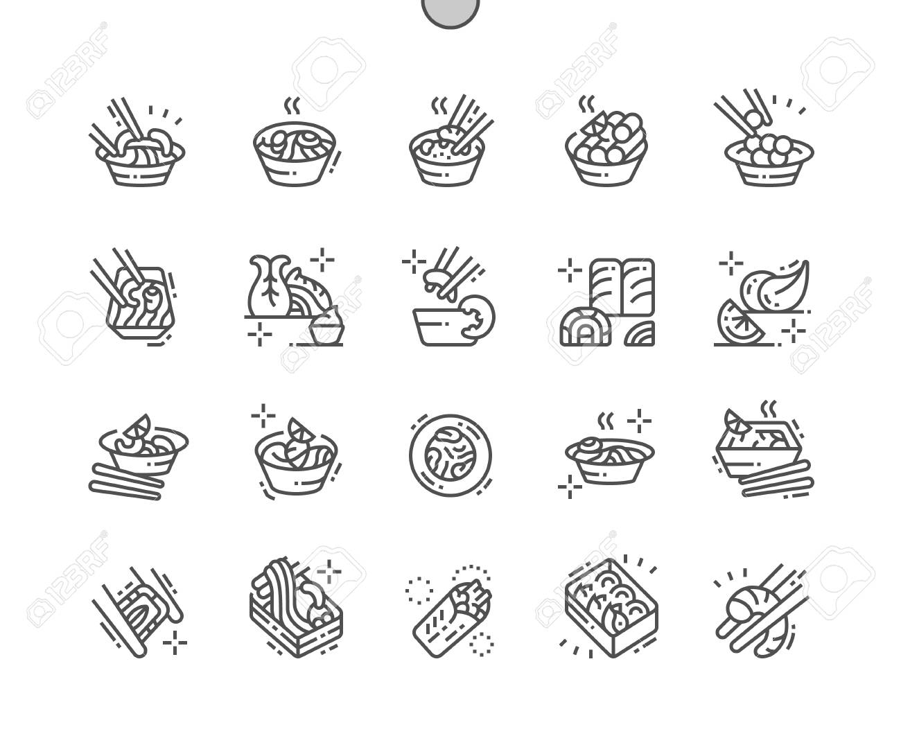 Asian food Well-crafted Pixel Perfect Vector Thin Line Icons 30 2x Grid for Web Graphics and Apps. Simple Minimal Pictogram - 109834964