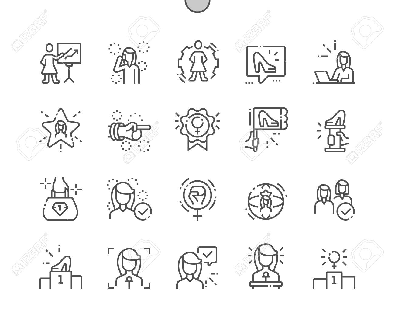 Female Leaders Well-crafted Pixel Perfect Vector Thin Line Icons 30 2x Grid for Web Graphics and Apps. Simple Minimal Pictogram - 127729747
