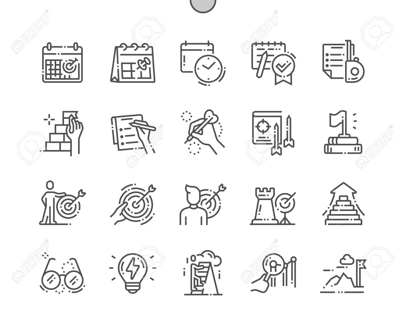 Goal Setting Well-crafted Pixel Perfect Vector Thin Line Icons 30 2x Grid for Web Graphics and Apps. Simple Minimal Pictogram - 125640960