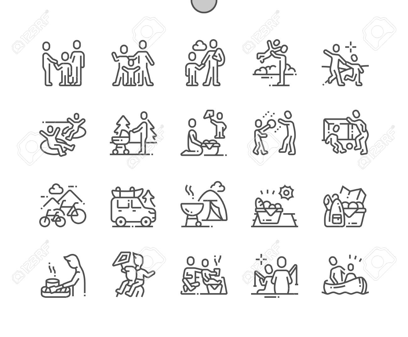 Family outdoor recreation Well-crafted Pixel Perfect Vector Thin Line Icons 30 2x Grid for Web Graphics and Apps. Simple Minimal Pictogram - 120152974