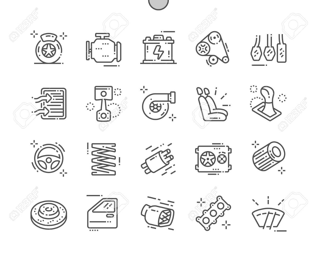 Auto parts Well-crafted Pixel Perfect Vector Thin Line Icons 30 2x Grid for Web Graphics and Apps. Simple Minimal Pictogram - 121129481