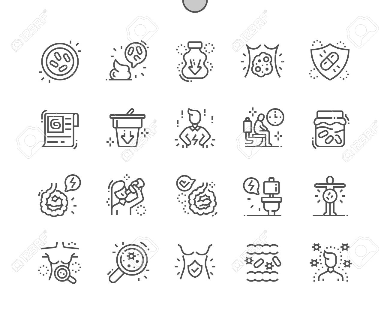 Probiotics Well-crafted Pixel Perfect Vector Thin Line Icons 30 2x Grid for Web Graphics and Apps. Simple Minimal Pictogram - 131163753