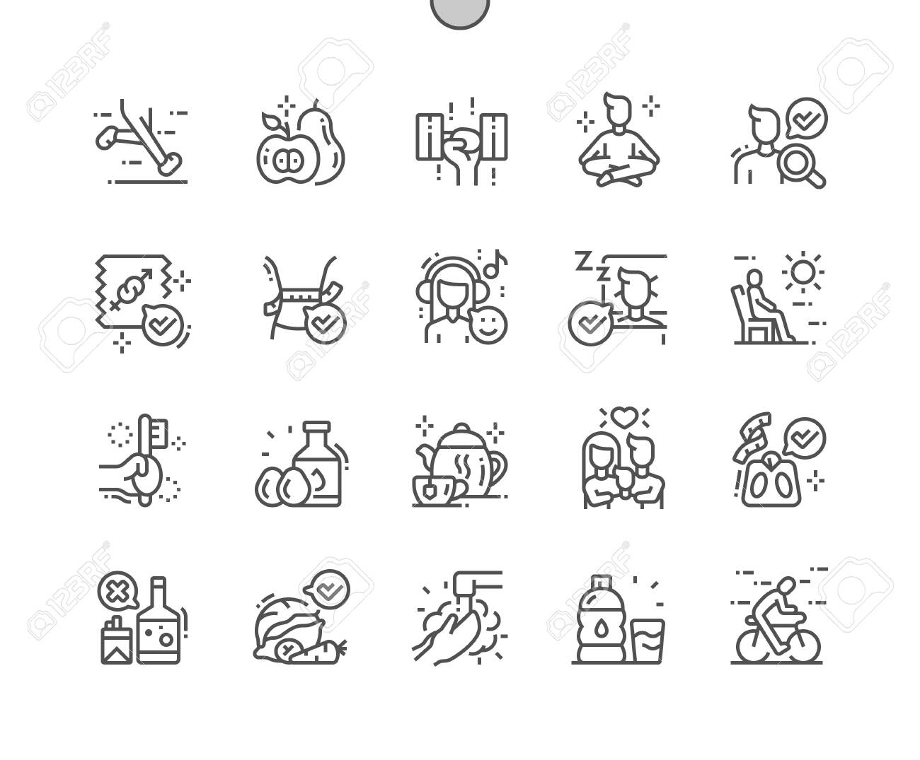Healthy Life Well-crafted Pixel Perfect Vector Thin Line Icons 30 2x Grid for Web Graphics and Apps. Simple Minimal Pictogram - 133978925