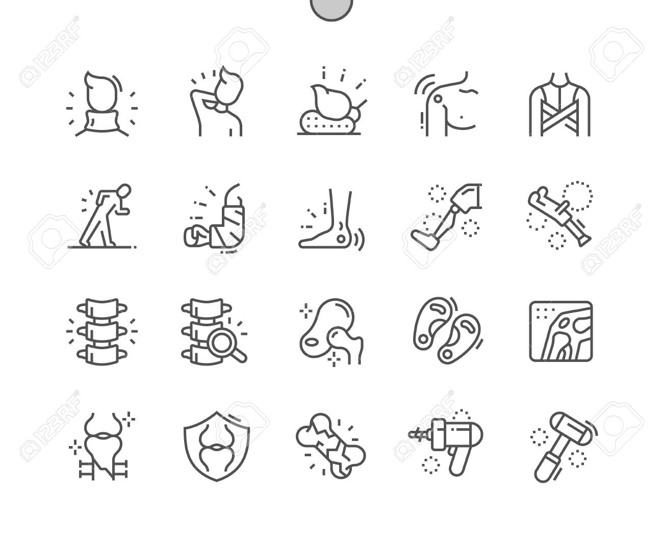 Orthopedics Well-crafted Pixel Perfect Vector Thin Line Icons 30 2x Grid for Web Graphics and Apps. Simple Minimal Pictogram - 135552326