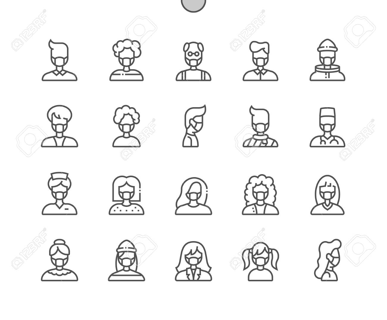 People with medical mask Well-crafted Pixel Perfect Vector Thin Line Icons 30 2x Grid for Web Graphics and Apps. Simple Minimal Pictogram - 143102243