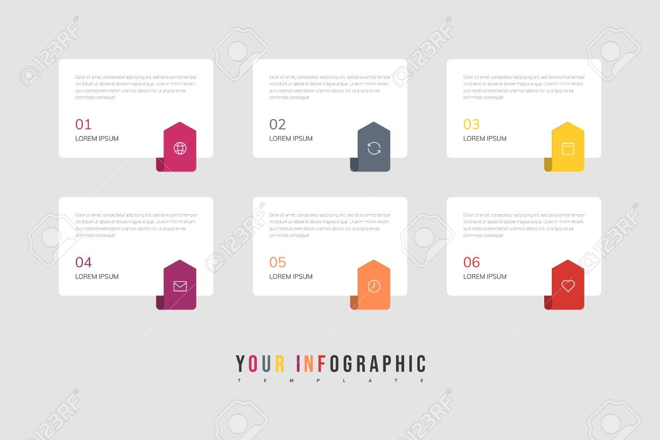 Infographics design vector and marketing icons can be used for workflow layout, diagram, annual report, web design. Business concept with 6 options, steps or processes. - 145073080
