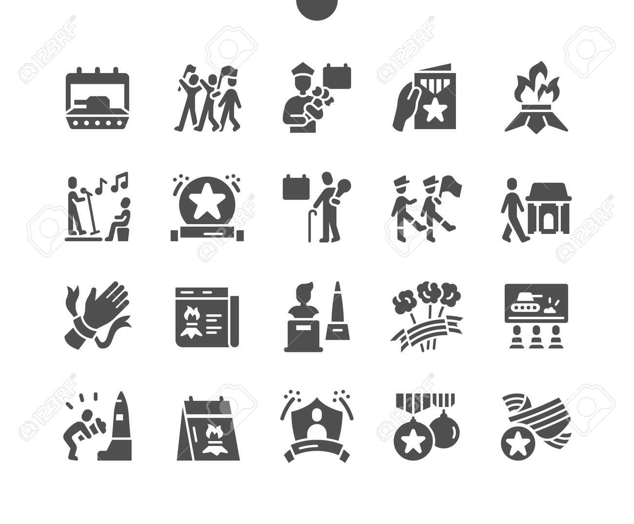 Victory Day 9 May. Calendar. War veteran. Monuments to the heroes. Ninth of may. Holiday. Winner, parade, soldier, memory, win and freedom. Vector Solid Icons. Simple Pictogram - 168492876