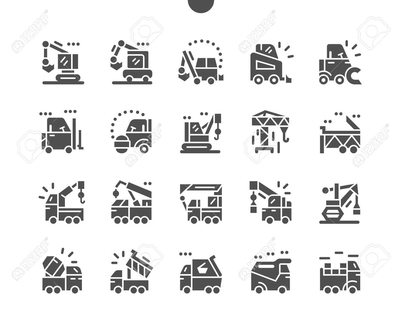 Special machinery. Manipulator, road roller, dump truck, excavator, and crane. Special equipment for cargo transportation. Construction and vehicle. Vector Solid Icons. Simple Pictogram - 168492877