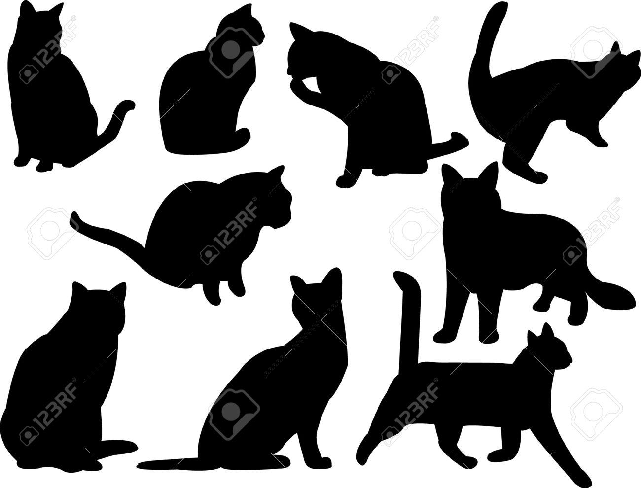 colección de silueta de gatos  Foto de archivo - 7742949